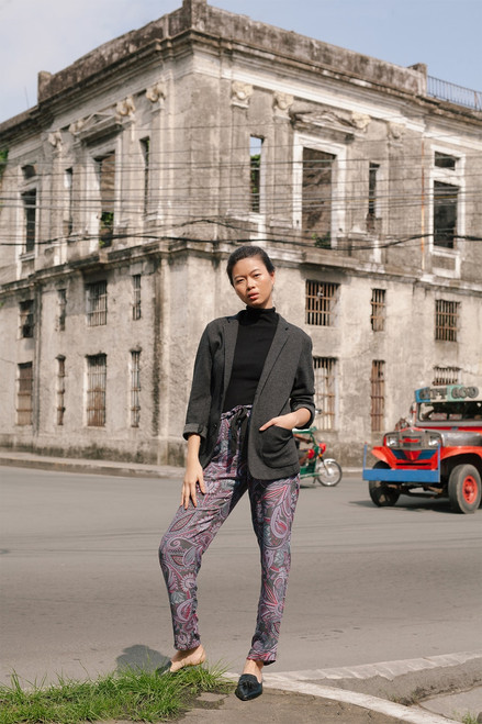 Josie Nomad City Pants Charcoal/Pink at The Natori Company