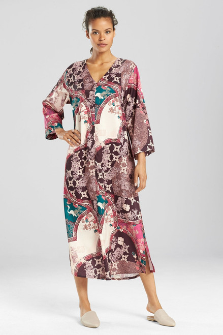 N Natori Floral Medallion Zip Caftan at The Natori Company