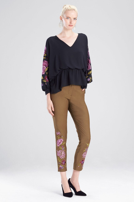 Buy Josie Natori Silky Soft Poet Sleeve Embroidered Top  from