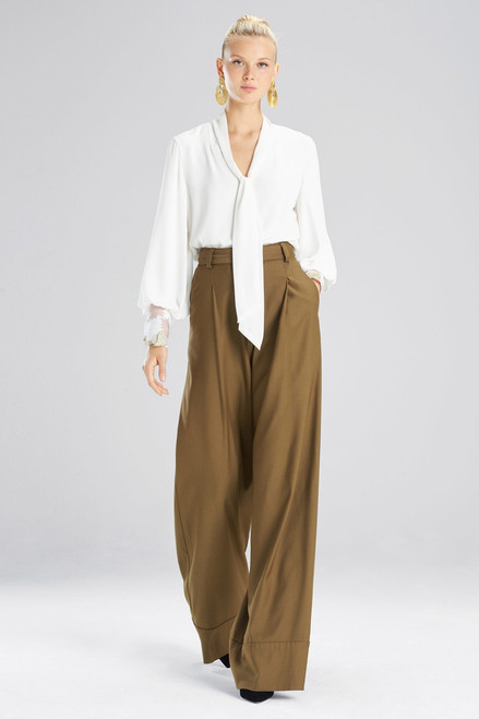 Buy Josie Natori Silky Soft Tie Neck Embroidered Blouse from