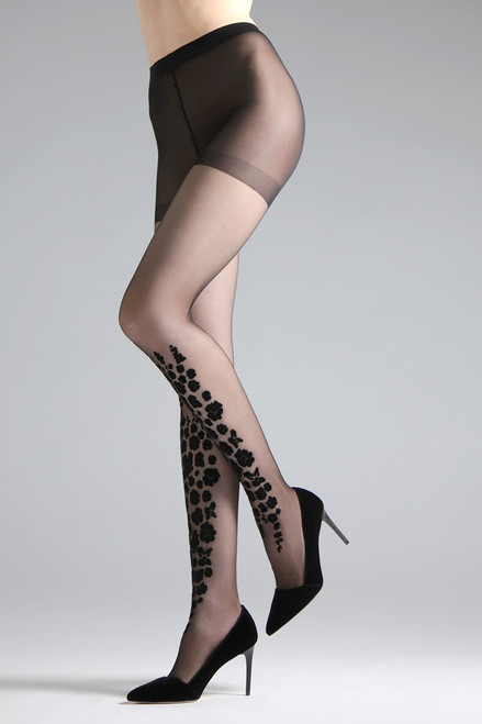 Natori Poppy Burnout Flocked Tights at The Natori Company