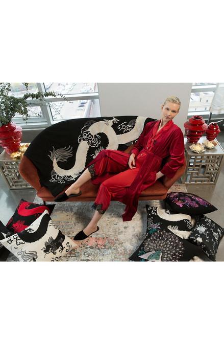 Natori Mayon Dragon Embroidery Pillow - Black/Red at The Natori Company