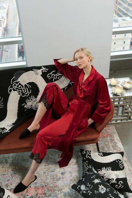 Natori Mayon Dragon Embroidery Pillow - Black/Cream at The Natori Company