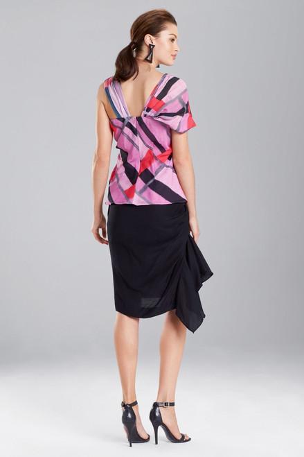 Josie Natori Taisho Stripes Voile One-Shoulder Top at The Natori Company