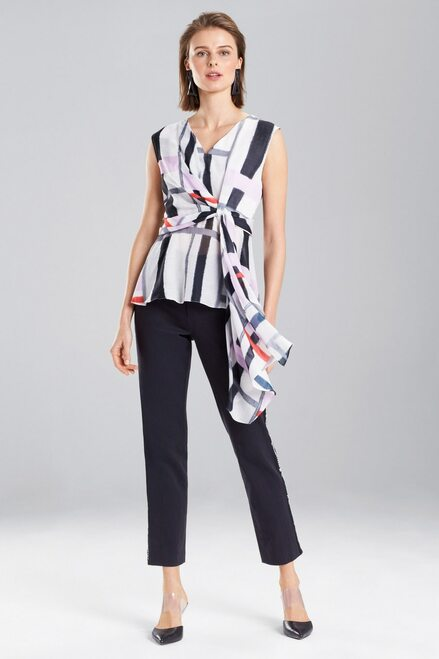 Buy Josie Natori Taisho Stripes Voile Knotted Top from