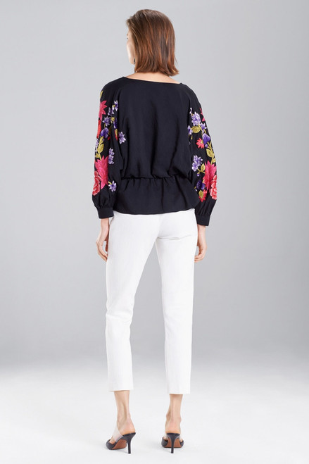 Josie Natori Cotton Like Embroidered Poet Sleeve Top at The Natori Company
