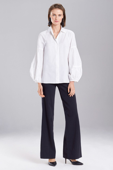 Buy Josie Natori Cotton Poplin Puffed Sleeve Top from