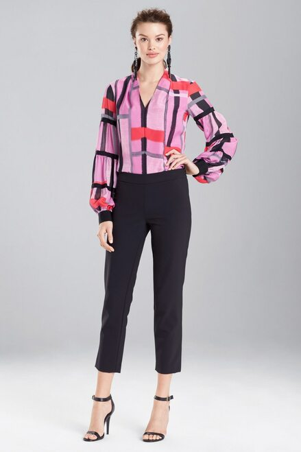 Buy Josie Natori Taisho Stripes Voile Grosgrain Top from