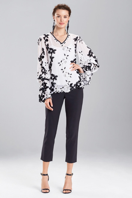 Buy Josie Natori Embroidered Long Sleeve Top from