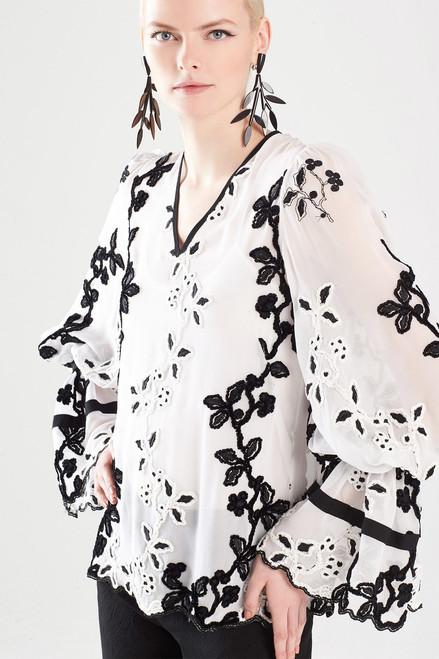 Josie Natori Embroidered Long Sleeve Top at The Natori Company