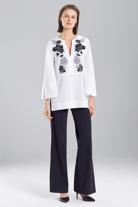Buy Josie Natori Cotton Poplin Embroidered Tunic Top from