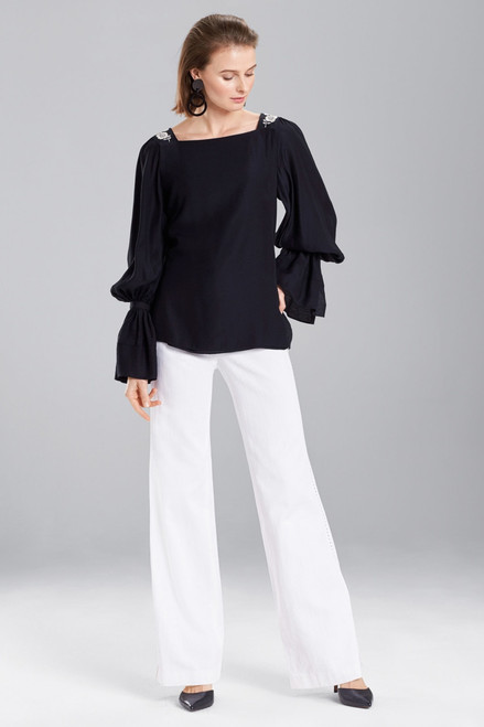 Buy Josie Natori Cotton Like Grosgrain Top from