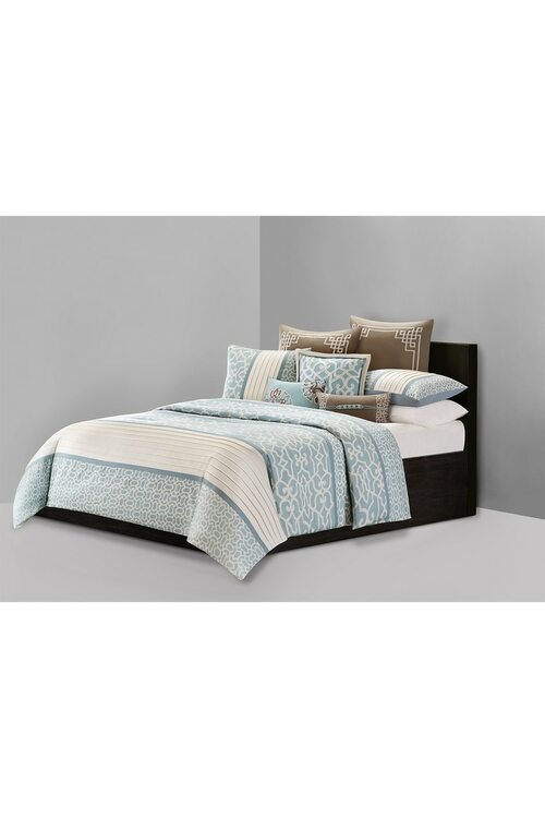 "N Natori Fretwork Aqua Duvet Mini Set Coat, Women's, Gray, 100% Cotton, Size King Natori. Inspired by a signature Natori design element, Fretwork Aqua evokes the aesthetic of the palaces of the Orient, while being versatile enough for everyday living. Soft aqua and antique white tones interplay on various interlocking printed fretwork patterns to create a bed that is fashionable yet accessible. Duvet and Sham Face: 230-thread count 100% cotton sateen with print, pieced with pintuck. Duvet and Sham Back: 180-thread count 100% cotton solid. Recommended care: machine washable. Imported. Queen: 92x96""/Sham: 20x26""(includes two): $159.99. King:110x96""/ Sham: 20x36""(includes two): $189.99. The Natori Company designs high-end women's fashion, including Intimates, Sleepwear, Lingerie, Ready-to-Wear, Home, Perfume, Towels, Eyewear, and more. Using an Asian aesthetic, Josie Natori was able to build a distinct brand, melding the visual appeals of both the East and the West. The Natori Life is gl"