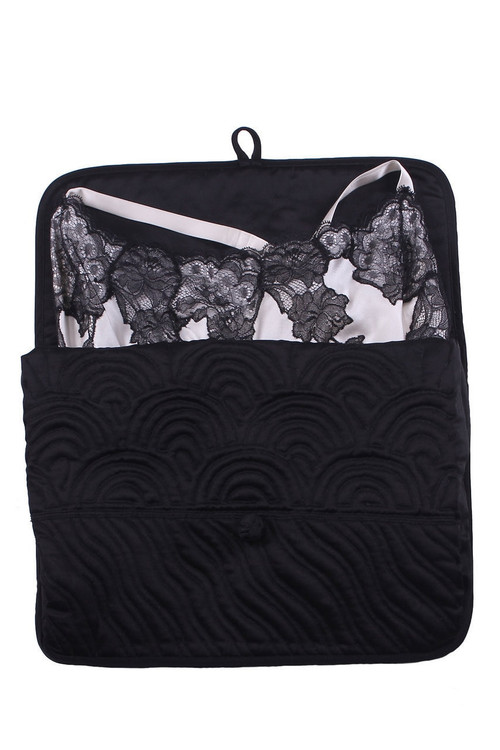 "Natori Lingerie Bag Pajamas, Women's, Black, 100% Silk, Size M, Josie Natori. The perfect travel package for your lingerie. Knot closure, with gussets to make it expandable 100% silky charmeuse polyester. Recommended care: machine wash/tumble dry low. Hand embroidered and quilted at our own factories in the Philippines. Small: width 10.5"", length 9"". Medium: width 13.5"", length 10.5"". Large: width 15.5"", length: 12.5"". The Natori Company designs high-end women's fashion, including Intimates, Sleepwear, Lingerie, Ready-to-Wear, Home, Perfume, Towels, Eyewear, and more. Using an Asian aesthetic, Josie Natori was able to build a distinct brand, melding the visual appeals of both the East and the West. The Natori Life is glamorous style that reflects how a woman sees herself: feminine, strong, independent, and creative. Shop Josie Natori for luxury women's pajamas, robes, nightgowns, bras, and caftans. Natori has a great selection of women's designer robes, caftans, pajamas, nightgowns an"