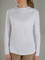 JoFit Ladies UV Long Sleeve Tennis Tops - Sea Breeze/Kona (White)