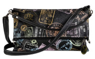 Sydney Love Ladies Cross Body Foldover Purses - Bon Voyage Passport Print
