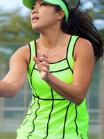 CLEARANCE JoFit Ladies Jacquard Swanky Sleeveless Tennis Tank Tops - Sea Breeze Neon Green