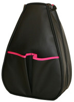 40 Love Courture Ladies Sophi Tennis Backpacks - Black Faux Leather with Pink Lining