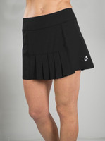 JoFit Ladies & Plus Size Dash Pleated Tennis Skorts - Melon Ball (Black)