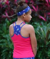 Turtles & Tees Junior Girls Kara Racerback Tennis Shirts - Berry/I Sea the Tee
