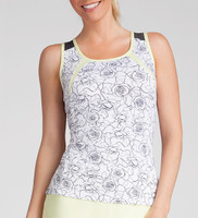 Tail Ladies Logana Sleeveless Tennis Tank Tops - Spring Blooms (Rosa Print w/ Black Heather)