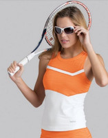 CLEARANCE Bolle Ladies Gabriella Sleeveless Tennis Tank Tops – White with Orange