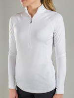 JoFit Ladies & Plus Size Brushed Long Sleeve Mock Tennis/Fitness Shirts - Chardonnay (White)