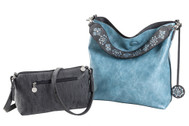 SALE Sydney Love Ladies Reversible Hobo Bag with Inner Pouch -  Charcoal and Aquamarine