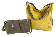 SALE Sydney Love Ladies Reversible Hobo Bag with Inner Pouch -  Olive Suede and Peridot Yellow