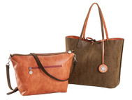 SALE Sydney Love Ladies Reversible Tote Bag with Inner Pouch - Orange Citrine and Chocolate