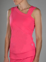 CLEARANCE JoFit Ladies Draped Sash Tennis Tank Tops - Cabernet (Sherbet)