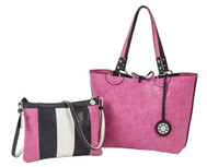 SALE Sydney Love Ladies Reversible Medium Tote Bag with Inner Pouch - Stone, Black and Fuchsia