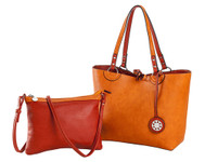 SALE Sydney Love Ladies Reversible Medium Tote Bag with Inner Pouch - Terracotta and Tangerine