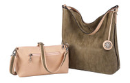 SALE Sydney Love Ladies Reversible Hobo Bag with Inner Pouch - Blush and Mushroom