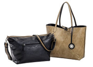 SALE Sydney Love Ladies Reversible Tote Bag with Inner Pouch - Black and Taupe