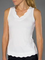 JoFit Ladies & Plus Size Scallop Tennis Tank Tops - Barossa (White)
