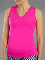 SALE JoFit Ladies Sleeveless Scallop Tennis Tank Tops - Napa (Fluorescent Pink)