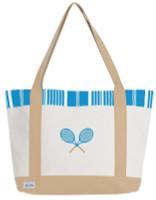 Ame & Lulu Ladies Tennis Lovers Tote Bags - Ticking Stripe