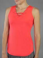 SALE JoFit Ladies & Plus Size Lace- Up Tennis Tank Tops - Daiquiri (Calypso)