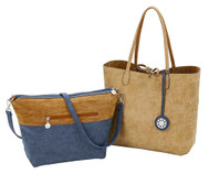 Sydney Love Ladies Reversible Tote Bag with Inner Pouch - Mocha, Navy & Burlap