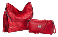 Sydney Love Ladies Reversible Hobo Bag with Inner Pouch - Red Crocodile
