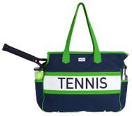 Ame & Lulu Ladies Varsity Tennis Court Bags - Navy/Green