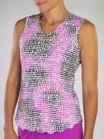 JoFit Ladies Scallop Sleeveless Tennis Tank Tops - Sangria (Lotus Pixel)