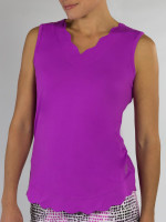JoFit Ladies Scallop Sleeveless Tennis Tank Tops - Sangria (Lotus)