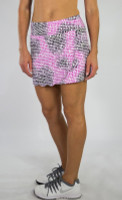 JoFit Ladies Scallop Tennis Skorts - Sangria (Lotus Pixel)