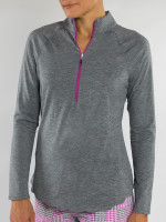 JoFit Ladies & Plus Size Scallop Long Sleeve Mock Fitness Shirts - Sangria (Graphite)