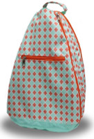 NTB Ladies Tennis Backpack - Sadie (Coral & Aqua Diamond)