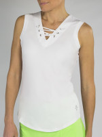 JoFit Ladies & Plus Size Lace-Up Sleeveless Tennis Tank Tops - Mai Tai (White)