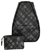 40 Love Courture Ladies Betsy Tennis Backpacks - Black Plaid Faux Leather With Black Lining