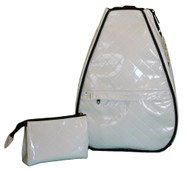 40 Love Courture Ladies Elizabeth Tennis Backpacks - White Quilt with Black Lining
